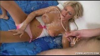 Hot Blonde Gets Splattered