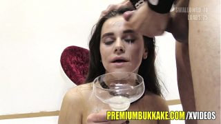 Premium Bukkake Mary swallows huge mouthful cum loads