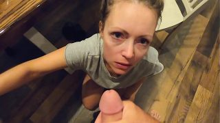 Sexy wife blows me until I explode on her face